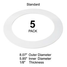 """5 Pack White Goof Ring Trim Recessed Can 6"""" Inch Down Light Over."""