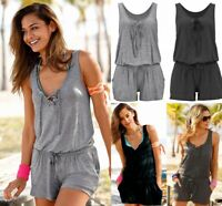 Women's Summer Casual Mini Jumpsuit Playsuit Rompers Beach Pockets Shorts Pants