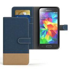 Bolso para Samsung Galaxy Mini s5 Jeans, móvil, funda protectora, funda, protección azul oscuro
