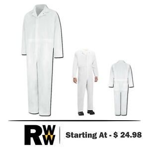 Red Kap Coveralls Twill Action Back No Breast Pockets White Work Uniform CT16