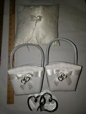 """White Satin Ring Bearer Pillow, 2 Wedding Flowergirl Basket, """"Silver"""" Pen Holder"""