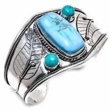 Blue Howlite, Turquoise Gemstone Handmade Jewelry Cuff Bracelet Adst.