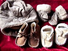 BUNDLE OF BABY BOYS WINTER SUEDE BOOTS PLUS WINTER MITTS + HELMET SET 0 - 3 MNTH