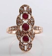 LONG 9CT 9K ROSE GOLD INDIAN RUBY & DIAMOND VINTAGE ART DEC INS RING FREE RESIZE