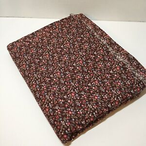 """3 & 7/8 Yards Brown Flowers Calico Fabric 43"""" wide Cotton Faded Areas"""