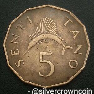 Tanzania 5 Senti 1974. KM#1. Five Cents coin. Sailfish. Fish. Nyerere.