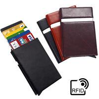 RFID Porte cartes aluminum et cuir synthétique homme femme