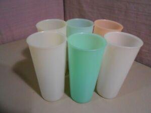 6 Pastel Tupperware 12 oz. Tumblers Glasses 115-7