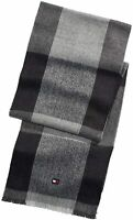 Tommy Hilfiger Mens Scarf Gray Black One Size Buffalo Check Frayed-Trim $55 428