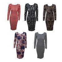 New Bodycon Womens Ladies Long Sleeve Print Celeb Maxi Midi Dress Size 8 - 14