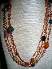 Multi-color Opaque Gems/Copper Double Chain 45 inch Necklace