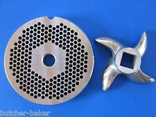 "#22 x 1/8"" hole STAINLESS Meat Grinding Grinder Plate disc & Cutter Knife"