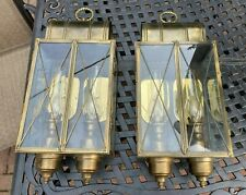 2 Large Vintage Solid Brass Outdoor Wall Coach Lantern Sconce