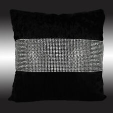 SHINY BLING SILVER BLACK THICK VELVET DECO THROW PILLOW CASE CUSHION COVER 17""