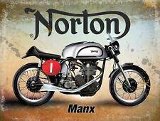 NORTON MANX BRITISH CLASSIC MOTORCYCLE GARAGE DECOR VINTAGE METAL SIGN 40x30cm