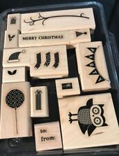 Stampin' Up! Owl Occasions Set of 14 Holiday WM Merry Christmas