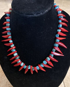 Large Natural Red Coral & Turquoise Stone  necklace.