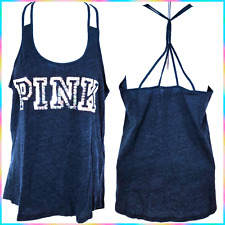 VICTORIA'S SECRET PINK BLING SEQUIN STRAPPY RACERBACK TANK TOP ² HAIR TIES