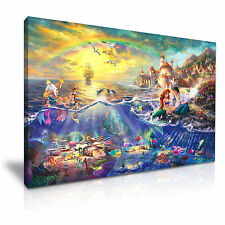 The Little Mermaid Disney Cartoon Kids Canvas Wall Art Picture Print 76x50cm