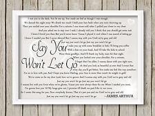 James Arthur Say You Won't Let Go A4 PRINT Song Lyrics Gift wedding album