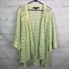 Denim 24/7 Blouse womens 32W Lace cardigan Green Open front top dolman