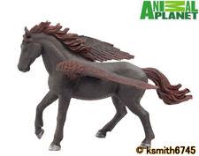 Mojo Animal Planet BLACK PEGASUS solid plastic toy wild dark flying horse  * NEW