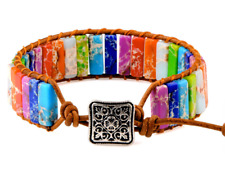 7 Chakra Bracelet Bohemia Handmade Natural Stone Tube Beads Genuine Leather Wrap