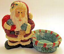 Vintage Rustic Folk Santa Claus Candy Dish - Poly Resin Decorative Bowl