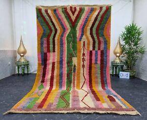 "Moroccan Boujaad Handmade Rug 5'3""x8'8"" Berber Striped Green Pink Wool Carpet"