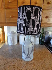 Folk Art/By Artist Table/Desk Lamp (Eiffel Tower Shade & Hand-Sketched Towers)