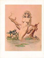 """1978 Full Color Plate """"Girl Bathing"""" by Frank Frazetta Fantastic Hot Girl GGA"""