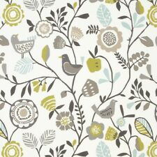 Clarke and Clarke100 Cotton Curtain Fabric/craft Folki Chartreuse/charcoal