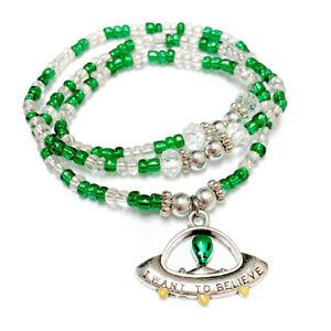 Alien Bracelet UFO Green Necklace Wrap Around beaded Bracelet Astrology