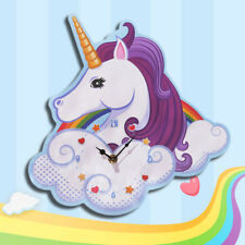 Nursery Rainbow Unicorn Clock Kid Bedroom Decor Magic Wall Clock Girlfriend Gift