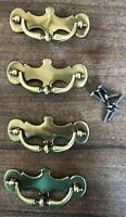 Vintage Brass Drawer Pulls, Set Of 4, Gold Plated