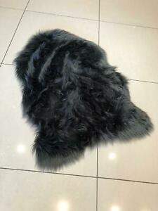 Faux Fur Sheepskin Charcoal Grey Rug in two sizes