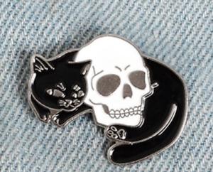 Cat Pin Badge Brooch Enamel Gift Jewellery Cat Lover Black White Skull Witch UK