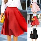 Vintage Women Ladies Stretch High Waist Skater Flared Pleated Swing Skirt Dress
