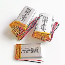 10 pcs 250mAh Lipo Polymer Rechargea Battery 3.7v For DVD headset Recorde 402035