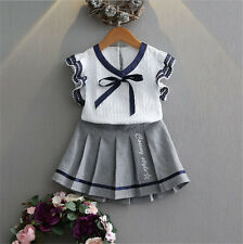 2PCS Baby Girls Clothes Toddler Lace Tops Shirt+Pleated Dress Skirt Outfits Sets