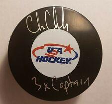 Chris Chelios Autograph Signed USA Hockey Puck 3x Captain Inscription