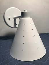 MID CENTURY MODERN SC77 SINGLE CONE WALL SCONCE WITH SWITCH ON BACK PLATE WHITE