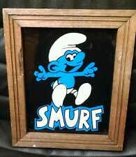 Vintage Carnival Smurf Painting Reversed on Glass!