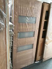 "Stockholm Oak External Exterior Frosted Contemporary Glass Glazed Door 30"" (762)"