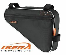 IBERA FB1M Triangle Bicycle Top Tube Frame Bag, Multiple Compartment - Black