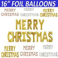 "16""  Merry Christmas Happy New Year Self Inflating Foil Balloons Banner Bunting"