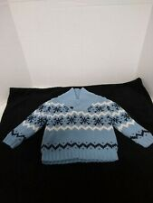 Boys Janie and Jack Snowflake Lined Shawl Collar Sweater Blue Sz 18-24 mths