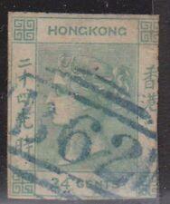 (T14-121) 1962 Hong Kong 24c Imperf green QVIC
