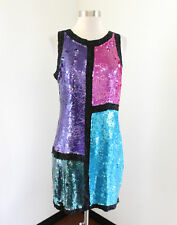 Vtg Stenay Color Block Silk Beaded Sequin Cocktail Party Dress Size 6 Pink Blue