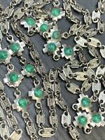 """VINTAGE Silver Tone Textured Chain 54"""" LONG NECKLACE Green Stone Accent Links"""